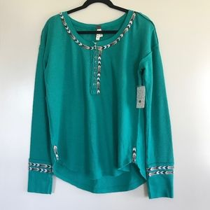 NWT Free People | Green Rainbow Henley Thermal Top